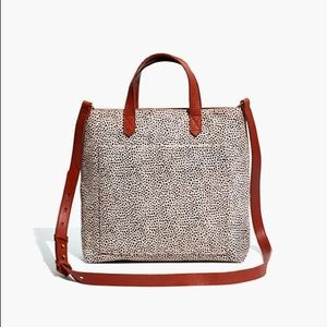 Madewell Zip Top Small Transport Tote in Calf Hair